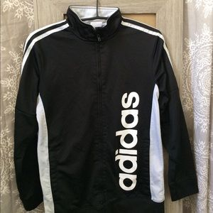 Adidas black and white zip up jacket